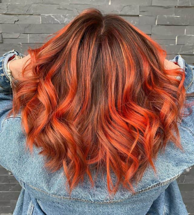 #fallhair #dontcare #expressyourself #burntorange #orangeisthenewblack #olaplex #goldwellcolorist #goldwellny amazing color and style by @beautyby_rchl